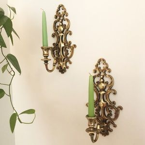 Syroco Gold Candlestick Wall Holder Set 1960's